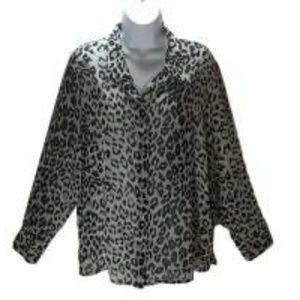 Jacklyn Smith Ladies Black Gray Leopard Blouse